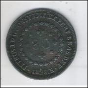 1828 R - 80 Réis, cobre, mbc+, Brasil-Império, D. Pedro I.