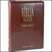 Bíblia Grande com Harpa Cristã Letra Gigante Índice e Zíper Marrom