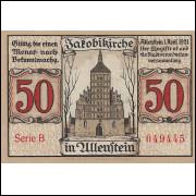 Alemanha Allenstein 1921 50 pfg SOB/FE
