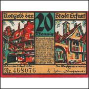 Alemanha Erfurt 1921 20 pfg SOB/FE