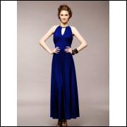 Vestido Longo Frisado Com Misangasna Gola - Azul