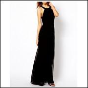 Vestido Longo Renda Com Fenda - Preto