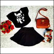 Conjunto Saia Cintura Alta+Blusa Cropped Veludo