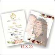 Convite de Casamento 15 X 20 (25 Unidades)
