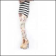 Legging Preta Com Florais - Bege - Frete Grátis
