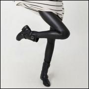 Legging Imita Couro Preto Brilhante - Frete Grátis