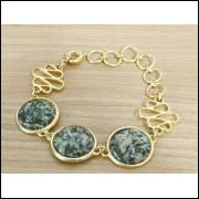 Pulseira Feminina Pedra Natural Rodonita Folheada á Ouro