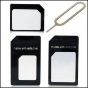 Adaptador Chip Nano Sim Micro Sim 3x1 Com Clip Para Iphone, Samsung, LG, Motorola, Smartphones