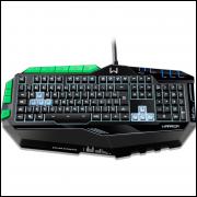 Teclado Multilaser Profissional Gamer com led Preto e Verde - TC199