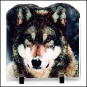 Porta retrato de pedra cachorro na neve