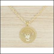 Cordão Corrente Cartier Feminina Masculina 50cm 3mm + Pingente Espirito Santo Tudo Folheado Ouro