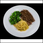 Carne Bovina ao Molho Funghi com Arroz Integral e Brócolis