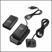 2 Bateria 4800mah + Carregador + Cabo Usb De Xbox 360