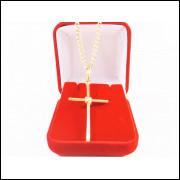 Corrente Masculina Grumet 70cm 2mm Crucifixo Folheado Ouro