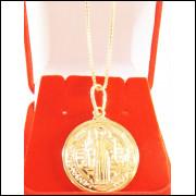 6f9317fca8 Corrente Feminina Veneziana 40cm + Pingente São Bento Folheada Ouro