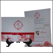 Convite com fita de cetim (25 Unidades)