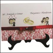 Convite de casamento duplo com fita de cetim
