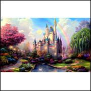 Painel em Tecido Sublimado Castelo da Cinderela 1,5 X 2,5 Pronta Entrega
