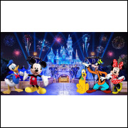 Painel Sublimado Castelo Disney Turma do Mickey 3,0 Alt X 6,0 Larg
