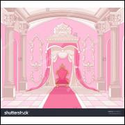 Painel Sublimado Tecido Castelo Rosa 2,0 Alt X 3,0 Larg Sem Emenda