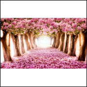 Painel Sublimado Tecido Ipê Rosa 3,0 x 4,5 + Fechamento Mesa 0,8 x 3,0 + Painel 1,5 x 3,0