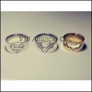 Par de alianças em  prata 950 mulher maravilha e superman ou batman vazado