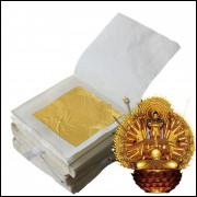 Folha D Ouro Comestível 24 K Puro/p Decoração Kit com 04 Folhas Tamanho 4.33 x 4.33. Cm FRETE GRÁTIS
