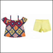 Conjunto Infantil 2 peças Feminino Elian Etnico Amarelo