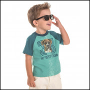 Camiseta Infantil Menino Cachorrinho Verde