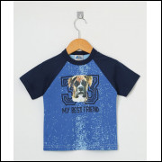 Camiseta Infantil Menino Cachorrinho Azul