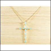 Colar Corrente Feminina Veneziana 45 cm + Pingente Crucifixo Tudo Folheado Ouro