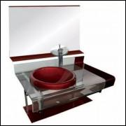 Kit Gabinete Vidro 70cm C/cuba+válvula Click+sifão Cor Vinho