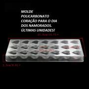 Molde Policarbonato Coração 21 Cavidades 27.5x13.6x2.4cm